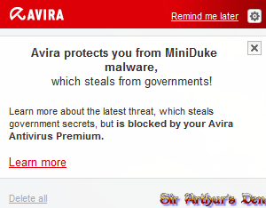 Avira protects you from MiniDuke