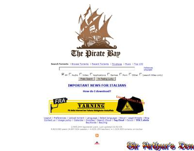 The Pirate Bay - Italian homepage