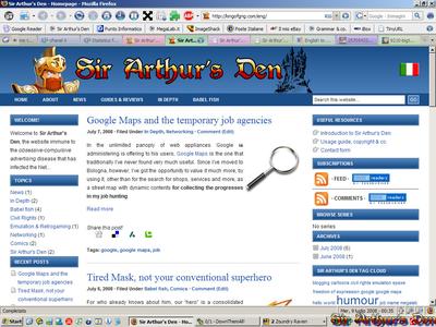 Firefox 2 - Sir Arthur's Den homepage