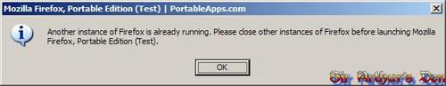 Firefox Portable - messaggio di errore