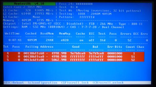 Memtest86+ - failed test